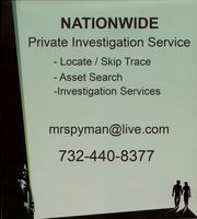 Assets * Skip Trace Search-Private Detective Services (732) 440-8377