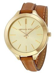 Michael Kors Runway Champagne Dial Tan Leather MK2256 Women's Watch