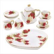 Miniature Rosebud Tea Set